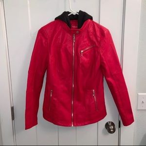 Red Hooded Motorcycle Jacket Size S